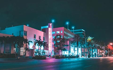 South Beach buildings at night