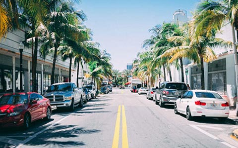 South Beach street cars palm trees buildings